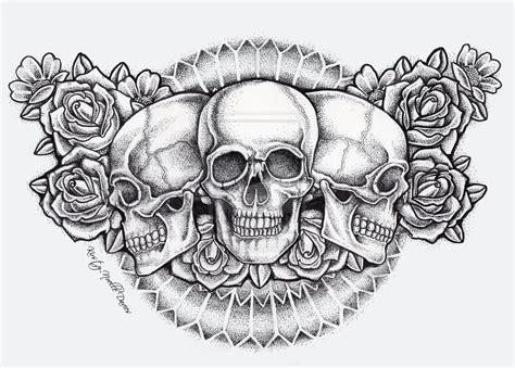 tattoo skull and roses skull and roses chest ellenslillehjorne