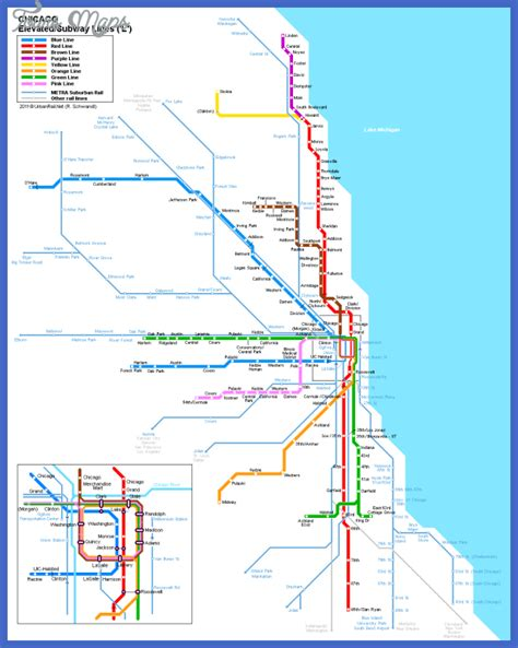 chicago map with lines chicago metro map toursmaps