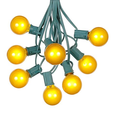 Yellow String Lights 100 Yellow G40 Globe Round Outdoor String Light Set On
