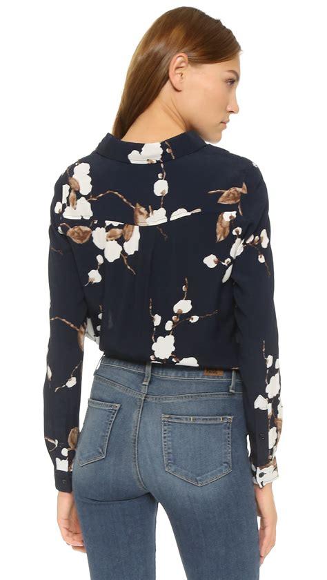 H M Blouse Hmb07 Crepe Tiny Floral Navy ganni blouse navy japanese flower in blue lyst