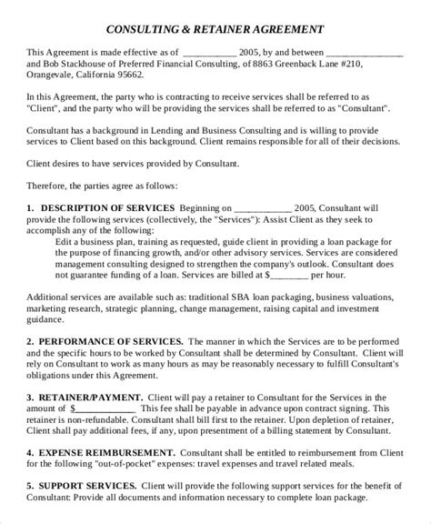 Retainer Agreement Template Uk consulting agreement 11 free word pdf documents