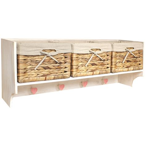 Coat Rack With Storage Baskets hartleys large hallway coat hook rack 3 storage baskets