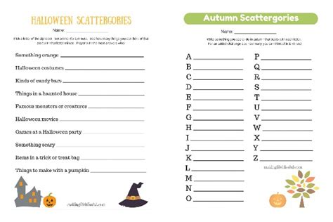 Scattergories Lists Printable