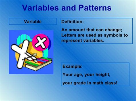 pattern and algebra meaning variables and patterns vocabulary