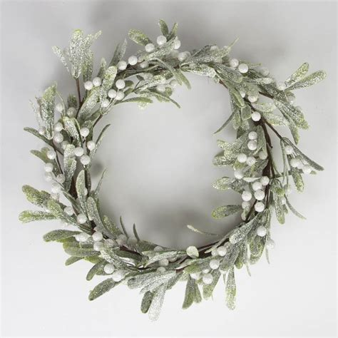 frosted christmas mistletoe wreath by little red heart