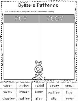 pattern cutter cv syllable patterns vc cv and v cv literacy center by second