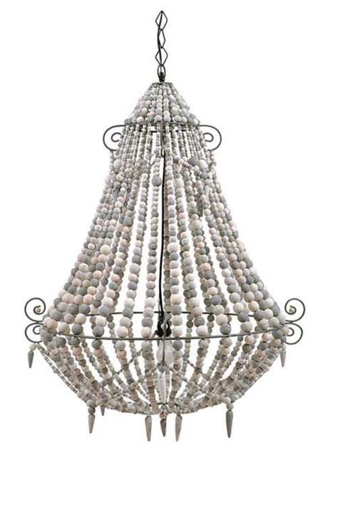 big white wood beaded chandelier country style
