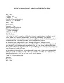 cover letter for administrative coordinator services coordinator cover letter