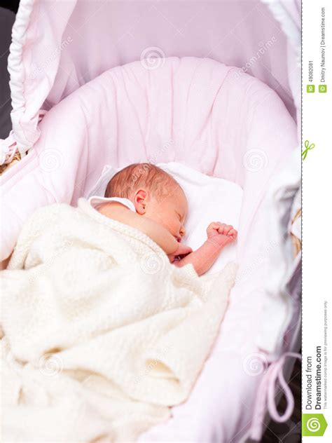 Newborn Sleep In Crib Or Bassinet by Newborn Baby In A Bassinet Stock Image Image Of