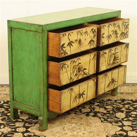 48 Wide Chest Of Drawers Repro Antique 48 Inch Wide 6 Drawer Green Cabinet
