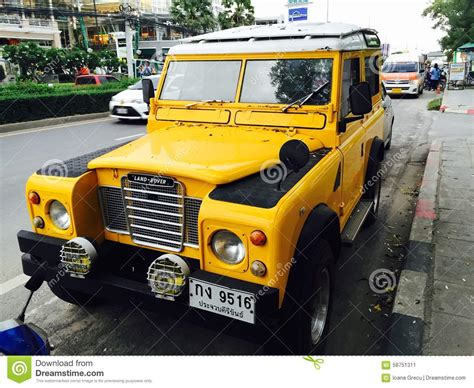 yellow land rover yellow land rover editorial photo image 58751311
