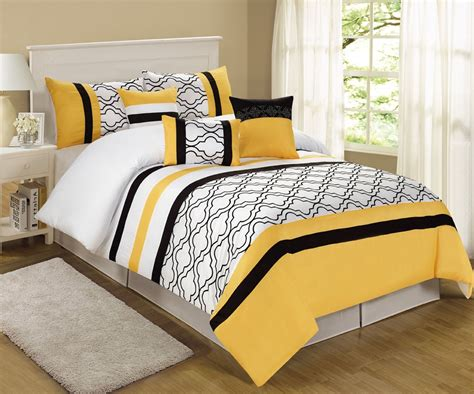 yellow and white comforter set yellow and black bedding piece queen mateo yellow black