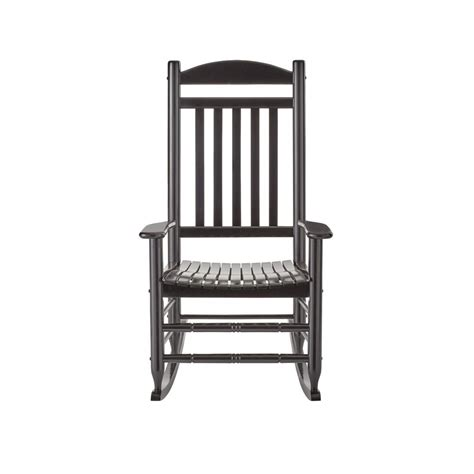 Black Wood Outdoor Rocking Chair IT 130828B   The Home Depot