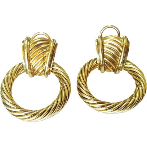 Gold Door Knocker Earrings david yurman 14 karat yellow gold quot door knocker quot earrings from krikorian jewelers on ruby