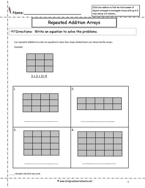 Array Worksheets by Ccss 2 Oa 4 Worksheets