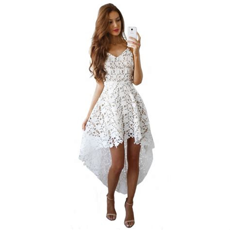 30580 Lace Dress White fashion white dress with spaghetti straps lace dresses high low asymmetrical hem front