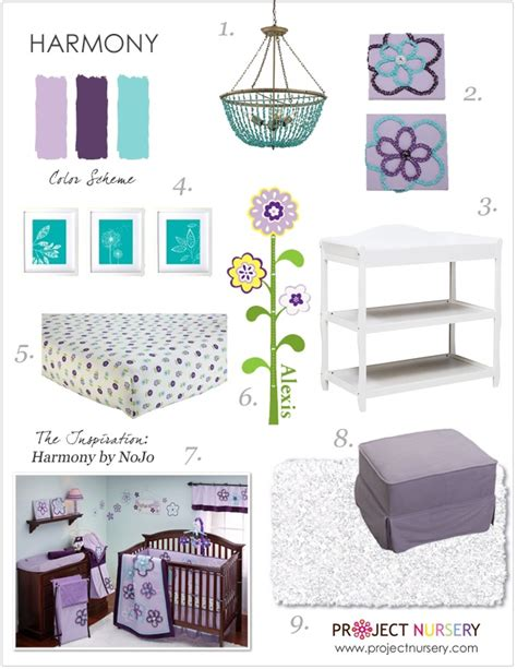 design board lavender and turquoise nursery