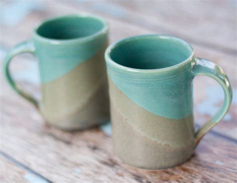 Handmade Ceramic Mugs - large handmade ceramic mugs slate and aqua blue 16 oz