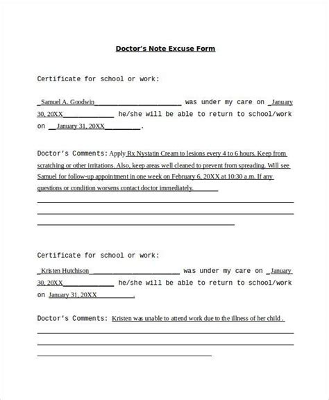 Excuse Letter Menstruation doctors note excuse form doctors note