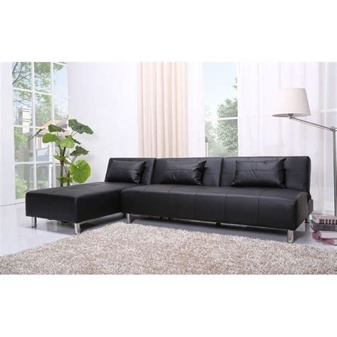 Convertible Sofa Leather Brika Home Faux Leather Convertible Sofa In Black Br 526711