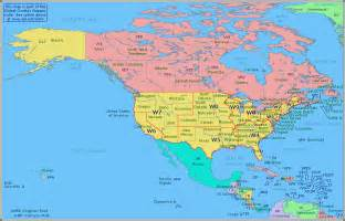 America Maps by Amateur Radio Prefix Map Of North America
