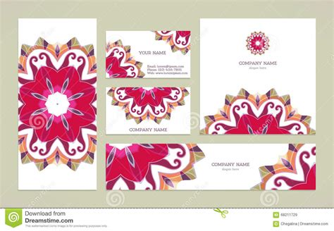gift card flyer template set business card with mandala stock vector image 68211729