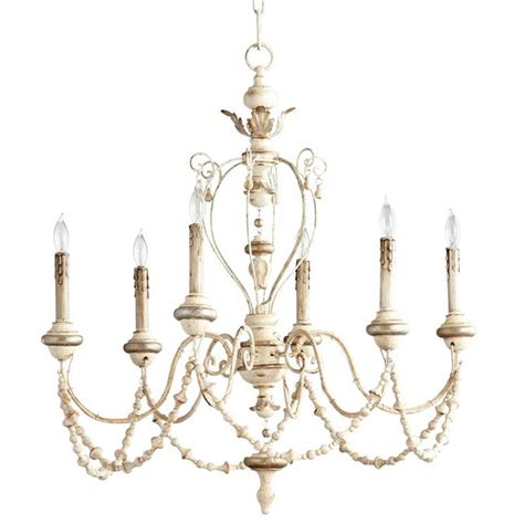Swag Chandelier Florent White Washed Country Beaded Swag 6 Light