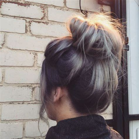 root drag hair styles yummy messy bun with ashy blonde and dark root drag by