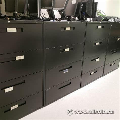 global black 4 drawer lateral file cabinet locking