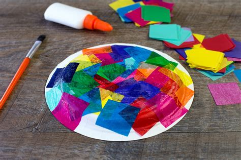 Crafts With Tissue Paper - tissue paper and paper plate turtle craft