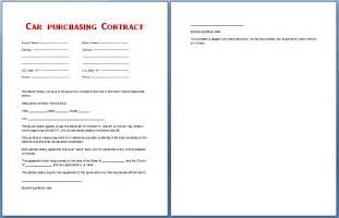 car purchase contract template car purchase contract template for ms word formal word