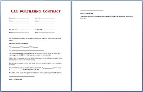 car purchase contract template for ms word formal word