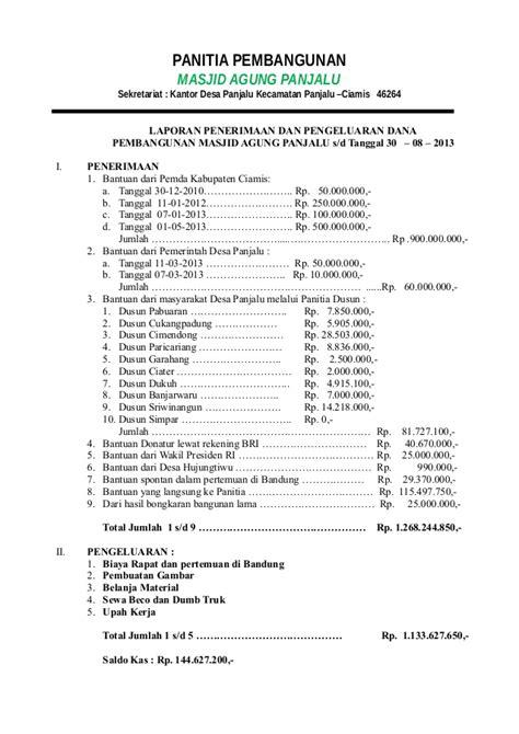 format laporan bumdes laporan keuangan mesjid agung panjalu