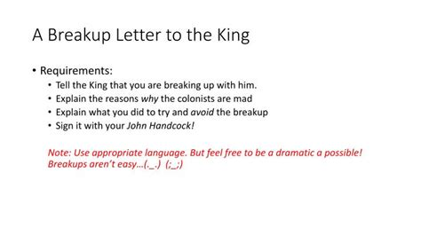breakup letter to ppt a breakup letter to the king powerpoint presentation