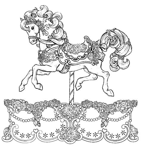 coloring pages of carousel horses 1000 images about color carousel animals on