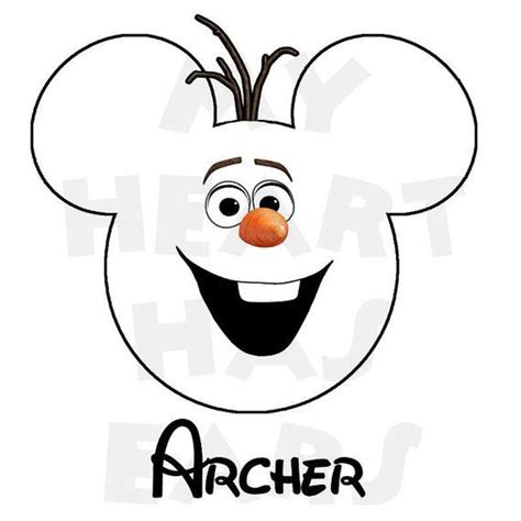 printable olaf head printable diy disney frozen olaf mickey head personalized
