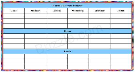 weekly class schedule template printable weekly class schedule template