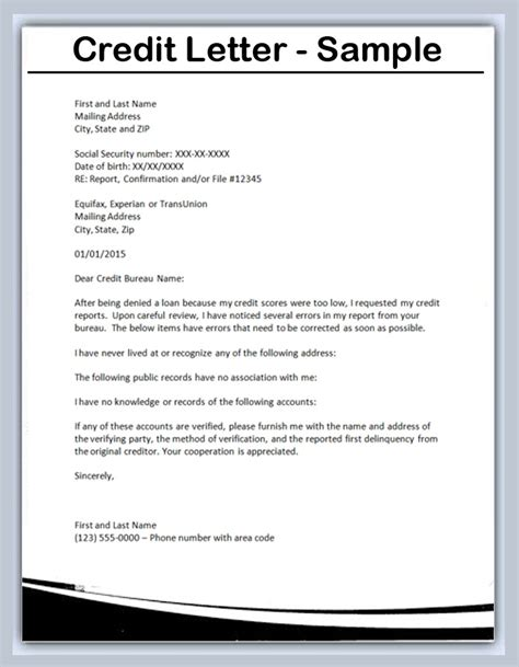 Credit Letter Templates Sle Letter Of Credit Best Resumes