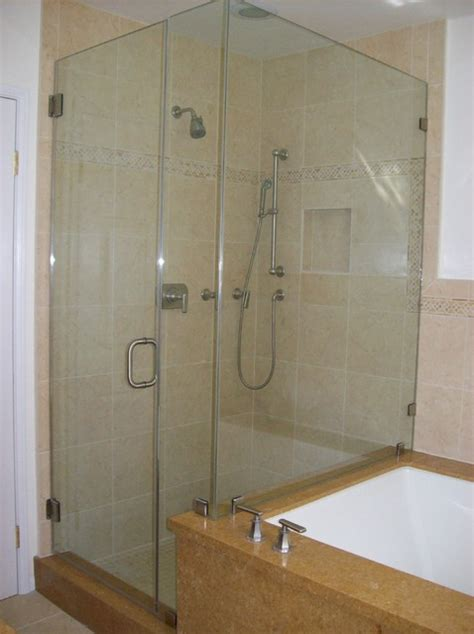 Glass Bathroom Shower Enclosures Glass Shower Door Tub Combo Traditional Bathroom Los Angeles By Algami Glass Doors