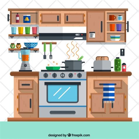 kitchen design free kitchen in flat design vector free