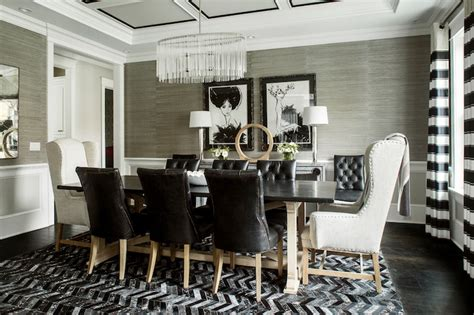 Design For Wingback Dining Room Chairs Ideas Horizontal Striped Curtains Contemporary Dining Room B Wolf Interiors