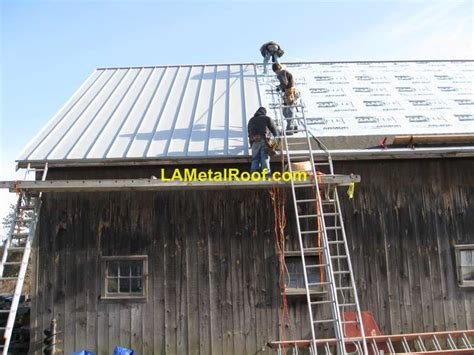 Metal Shed Roof Installation by Standing Seam Metal Roof Installation Process Metalroofs
