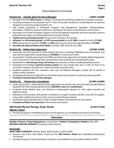 Orthopedics Resume Dthornton Outside Med Sales Resume 2015 Pdf
