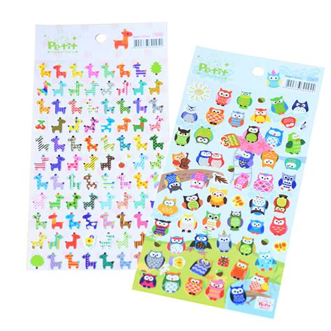 Owl 3d Stickers 1pc stickers 3d giraffe owl animals classic toys scrapbook for children gift