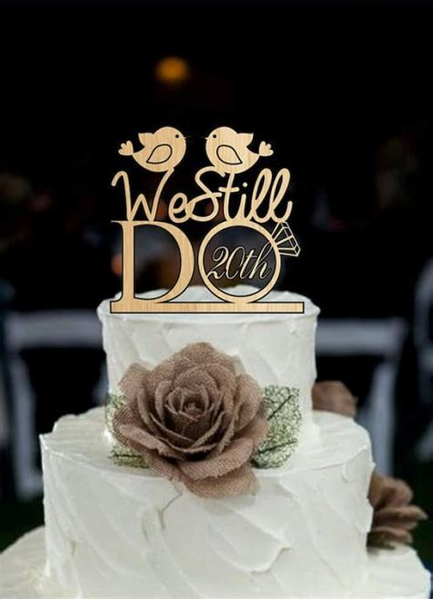 Wedding Cake Topper We Still Do Love Birds 20th Vow