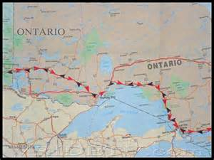 motorcycling trip map of route taken in ontario on canada