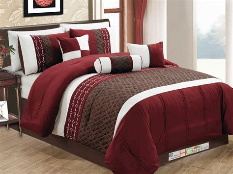 brown and burgundy comforter set hg station 7 pc quilted diamond embroidery pintuck striped