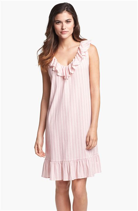 knit nightgowns by ralph ruffle knit nightgown in pink