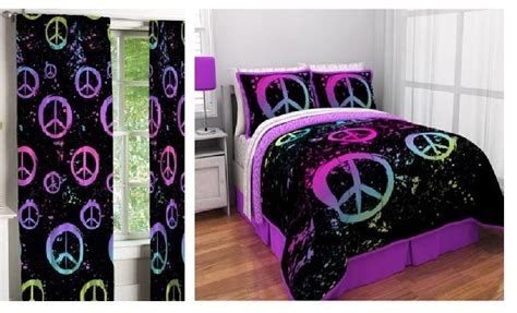 bedroom in a bag with curtains peace paint comforter sheets curtains bed in a bag