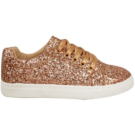 glitter shoes size 13 womens flat lace up glitter sparkly trainers